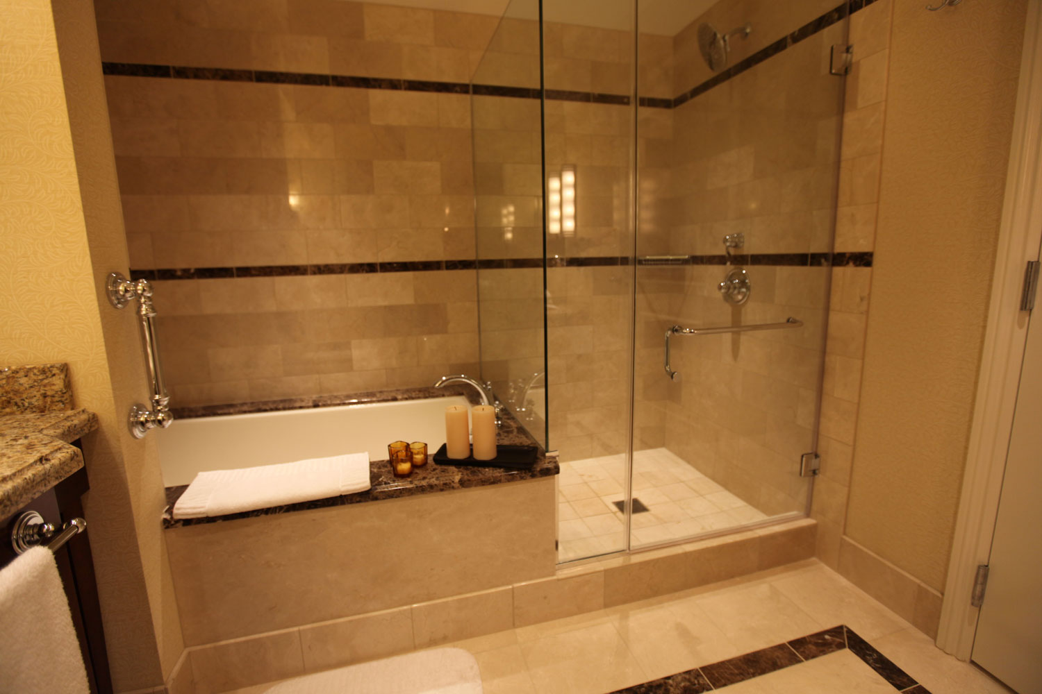 Enjoy our elegantly designed bathrooms with separate oversized tub.