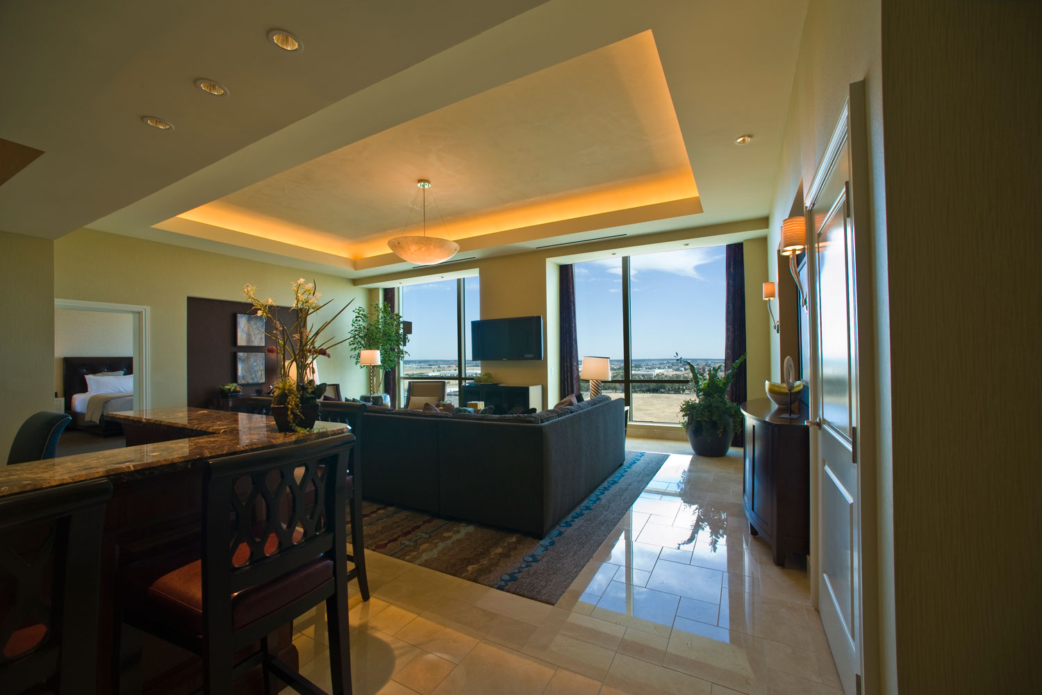 The spacious living area of our Tuscany Suite is ideal for guests seeking to entertain.